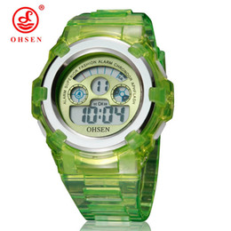 Wholesale Ohsen Digital Girls Watch - Top sale Ohsen Fashion Digital LED Boys Kid Wristwatch Rubber band 30M Waterproof Girl Children 7 Colors Sport Cool Watches Gifts