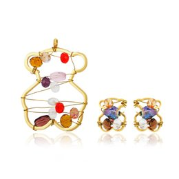 Wholesale Plastic Steel Design - 2017 Stainless Steel Bear Jewelry Set Unique Design For Women Charm Gift New Edition Never Fade