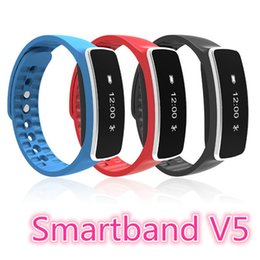 Wholesale Iphone V5 - Smartband Bluetooth V5 Fitness Sports Tracker Waterproof Wristband Smart Wrist Bracelet Band Pedometer for IOS iPhone Android