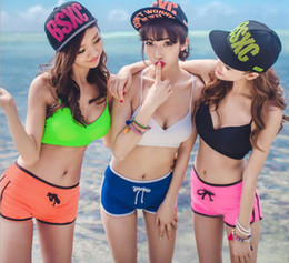 Wholesale Korean Swimsuit Women - Multicolor candy girl split swimsuit bikini Korean steel prop gather small chest swimsuit beach pants Free shipping