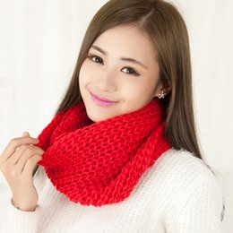 Wholesale Wholesale Knitted Scarves Green Black - New Korean style female student couples head of winter red scarf knitted wool scarf female thickening Size 100cm*135cm Tb6
