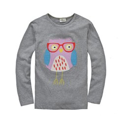 Wholesale girls owl top - Grey Owl Girls T-shirts Children brand new tee shirts 100% Cotton 18month to 6year Kids tops sleeved t shirt 60pcs lot