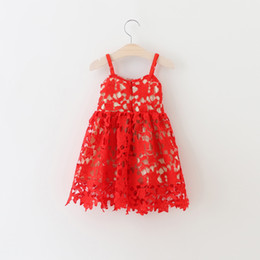 Wholesale Kids Western Dresses - Wholesale- New Kids Girls Floral Lace Tutu Dress Summer Halter Princess Red Party Dress Western Cute Dress 5pcs lot Wholesale
