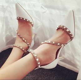 Wholesale Lady Nude High Heel - Fashion pointed toe rivet strap shallow mouth high heel nude pumps office lady work shoes size 35 to 39