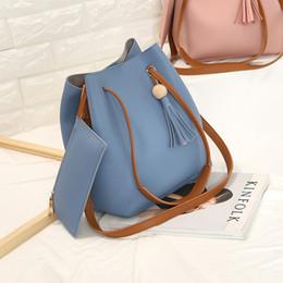 Wholesale Black Leather Drawstring Handbag - HOT Women's handbag fashion all-match bucket bag tassel bag shoulder bag women messenger bag women PU leather handbags