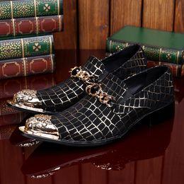Wholesale Oxford Metal - 2017 Handmade Metal Genuine Leather Men Dress Shoes Evening Party Wedding Shoes Fashion Flats Plus size EU Size 38-46