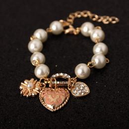 2019 bracelet en diamant fleur Mode Peach Coeur Fleur Bracelet cristal Diamant D lettre bracelet de perle femmes en gros livraison gratuite promotion bracelet en diamant fleur