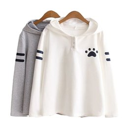 Wholesale Hoodies Cat Ears - New Fashion Japanese Style Spring Autumn Girls Sweatshirt Cat Ears Claw Marks Print Long Sleeve Women Hoodie