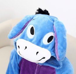 Wholesale Donkey Kigurumi - free shipping adult unisex fannel animal onesie kigurumi cosplay dress pajamas costumes donkey