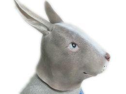 Wholesale Cute Wedding Masks - Cute Rabbit Head Latex Mask Full Face Animal Bunny Ears Masks Halloween Masquerade Parties Costume Ball Adult Size