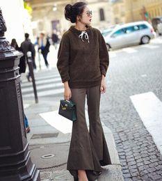 calças extravagantes Desconto Top Quality Fantasia Alpaca Pele das mulheres Frango Coxas Pernas calças Amplas Pernas Calças Hiphop Capris das mulheres