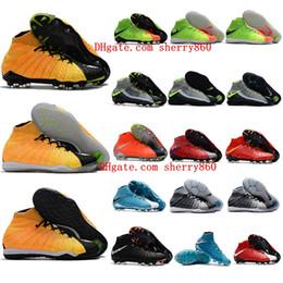 Wholesale Green Yellow Winter Boots - 2018 soccer shoes indoor mens football boots HypervenomX Proximo II DF TF IC original soccer cleats Hypervenom Phantom III neymar boots hot