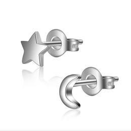 Wholesale Star Stud Earrings Silver Crystal - Wholesale 925 sterling silver Stud earrings jewelry Small Moon and Star Lover Pair allergy earrings ED245