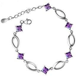 Wholesale Embedded Diamonds - Hand catenary wholesale 925 sterling silver Diamond oval heart bracelets Embedded AAA zircon women gift iice new fashion jewelry NO252