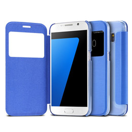 Wholesale Galaxy S Cover View - Casual Cloth Pattern View Window Case For Samsung Galaxy S7 G9300  S7 Edge G9350 PU Leather + Hard Plastic Clear Cover S 7 Edge