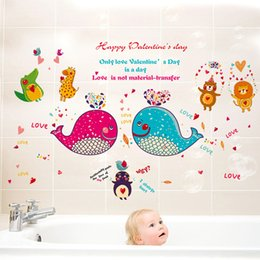 Wholesale Removable Wall Decals Whales - 60*90cm Wall Stickers DIY Art Decal Removeable Wallpaper Mural Sticker for Kids Room Living Room Bathroom SK9092 Cartoon Whale