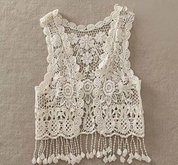 Wholesale Sleeveless Sweater Coat - 2016 New Girl Vest Retro Lace Hollow Tassels Cardigan Fashion Sweater Coats Children Clothing 9901