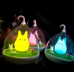 Wholesale Wholesale Birdcage Decor - Wholesale- Lovely Birdcage Totoro Portable Touch Sensor USB LED Baby Night Light Table Bedside Home Decor Lamp Child Gifts