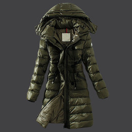 Wholesale Wool Coat Parka - Army green long down parka Winter jacket women waist belt winter Outdoor warm coat Long sleeve Ladies Anorak