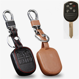 Wholesale Ford Leather - Car Genuine Leather Remote Control Car Keychain Key Cover Case For Ford Explorer 5Buttons Transponder Key S136