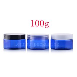 Wholesale Blue Cosmetic Glass Jars Wholesale - 100g blue color PET empty cosmetic cream containers bottle for skin care cream packaging , 3.4oz personal care container jars