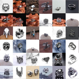 Wholesale New Finger Rings - Fashion New Style Hot Selling popular Cool Men's Stainless Steel Fashion Gothic Punk Skull Head Biker Finger Rings Jewelry - Free Shipping