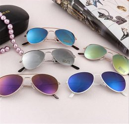 Wholesale Wholesale Wayfarer Sunglasses Mirror - 2016 Brand Designer Sun Glasses for Children Cool Mirror Reflective Metal Frame Kids Sunglasses Children's Glasses UV400