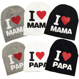 Wholesale I Love Baby - Wholesale new autumn baby knitted warm cotton beanie hat for toddler baby kids girl boy I LOVE PAPA MAMA print baby winter hats