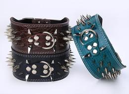 Wholesale Spiked Collars For Big Dogs - Spiked leather dog collars 3 inch wide pet dog collars PU leather with big spikes best quality for PitBull Mastiff and big dogs