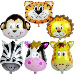 Wholesale Cartoon Deer Birthday Party - 50pcs lot Large size cartoon big animal balloon aluminum balloons birthday party monkey cow lion zebra deer head toy balloons