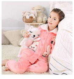 Wholesale Xs Pajama Set - hjl11.8Autumn Winter Extra Thick Flannelette Children Pajama Baby Girl Coral Velvet Home Dress Suit Big