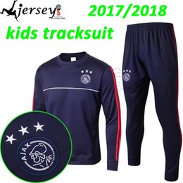 Wholesale Boys Size 16 - thai quality 2016 2017 ajax Soccer training suit kids size 16 17 HUNTELAAR ZIYECH DOLBERG NOURI KLUIVERT soccer tracksuit shirts