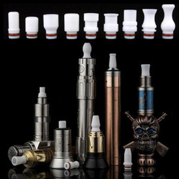 Wholesale Mouth Piece Atomizer - Teflon Drip Tips White Color Rich Styles Mouth Piece Fit 510 Electronic Cigarette Atomizers Free Shipping by DHL