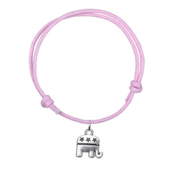 Wholesale Invisible Elephant - Hot Wax Cord Bracelet Antique Silver Plated Elephant Charm Bracelet Multi Colors Jewelry Accessories For Gift