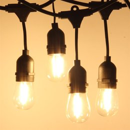 Wholesale Vintage Ball Feet - Outdoor Commercial String Lights 48 Feet Heavy Duty Weatherproof Vintage Patio Lights 16 Gauge Black Cable with 15 Hanging Sockets15 Bulbs