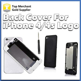 Wholesale Iphone Back Replacements - Back Glass Battery Housing Door Cover Replacement Part GSM for iphone 4 4S Black White Color A quality
