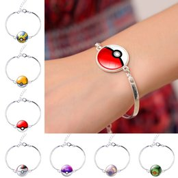 Wholesale Chirstmas Elves Wholesale - New Unisex Poke Go Elf Ball Bracelets Cartoon Action Figure Time Gemstone Pokeball Glass Cabochon Alloy XMAS Jewelry Gifts Accessories