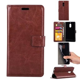 Wholesale Vintage Horse Photo - For Nokia 5 6 Crazy Horse PU Leather Wallet Retro Vintage Cases Cover with Card Slots Photo Frame Flip Stand Phone Cover
