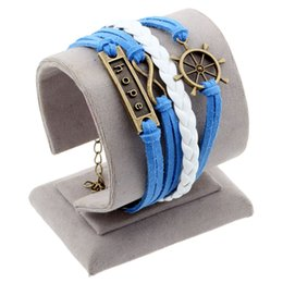 Wholesale Bird Wrap - Wholesale-Juegos Del Hambre Vintage Bird Owls Anchors Bracelet Wrap Leather Bracelet Charm bracelets pulseira couro bracelets for women