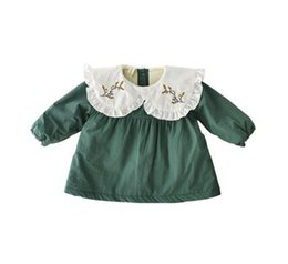 Wholesale Wholesale Novelty Flowers - INS styles new Girl dress kids winter long sleeve ruffles collar emboridery flower 100% cotton cute green dress girl thick elegant dress