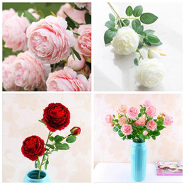 Wholesale Fake Garden Flowers - 9 Color Artificial Flowers Roses Peony Three Flower Heads Garden Wedding Party Decoration Simulation Fake Flower Head YYA697