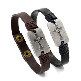 Wholesale Handmade Boxes For Gifts - Newest Design Christian Cross Bracelets Genuine Leather Braided Bracelets Handmade Snaps Charm Bracelets Bangles For Men Women Jewelry Gifts