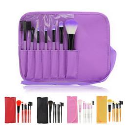 Wholesale Eyebrow Sponge Brush - 7pcs set Makeup Blush Eyeshadow Sponge Lip Brush Cosmetic Eyebrow Brush Set Kit With Bag Case Make Up Tools Free Shipping