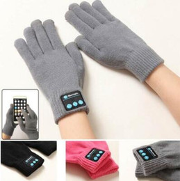 Wholesale Smart Phone Gloves Wholesale - 4 Colors Touch Bluetooth Gloves Winter Touch Gloves Knitted Mittens Unisex Mobile Phone Wireless Smart Headset 2pcs pair CCA7464 100pair