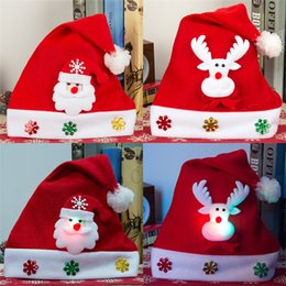 Wholesale christmas lights hat - New luminous With lamp Christmas hats Children's cartoon cap Christmas decorations Christmas gift for children IA889