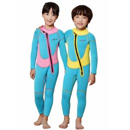 Wholesale Full Diving Suit - Kids boys girls full body diving suit  children anti-uv 2.5MM Neoprene One-Piece swimming wetsuit baby warm snorkeling clothing