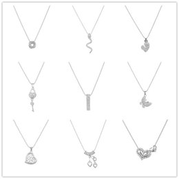Wholesale Key Chains Korean Wholesale - Korean Style Lady Fashion Jewelry Silver Clavicle Chain Necklace For Women Rhinestone Bow Heart Key Pendant Multi Styles