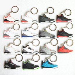 Wholesale Stainless Steel Sneaker Key Chain - Cute retro 3 Keychain For Men Woman Silicone Sneaker Key Chain Key Ring Key Holder Porte Clef Gifts Keychain