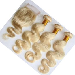 Wholesale 4inch Weaving Hair - Good Quality 9A Grade 3 Bundles Hair Weave With Free Part 4*4inch lace Closure Color 613# Blonde Brazilian Human Hair Body Wave Extensions