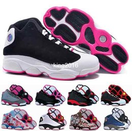 Wholesale High Sneakers For Basketball - 2016 new retro 13 XIII basketball shoes for women,high quality womens air dan retros 13s athletic sport sneakers trainers shoe red flower